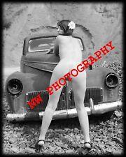 Nude Female Model with Vintage Car B&W fine art photo print 8x10, Image No. 006