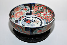 CHINA: Old, large Chinese porcelain dragon bowl, Wucai style, unknown w wood bas