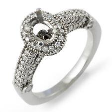 0.75 Ct Oval Setting Round Diamond Wedding F Engagement Ring 14k White Gold SZ 6