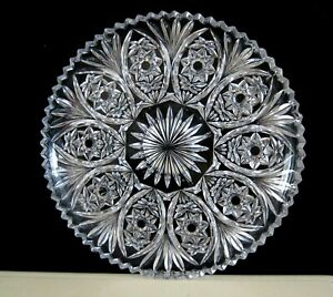 VINTAGE CUT CRYSTAL ROUND TRAY CAKE PLATE