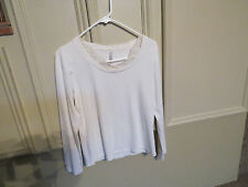 Women's top shirt blouse LS Long Sleeve size M Medium ivory White Stag lace neck