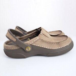 Crocs Mesa Clog Sandals Mens Size 9 Brown Leather Closed Moc Toe Slip Ons Strap