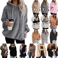 Plus Size Women Fleece Hooded Sweatshirt Hoodie Oversized Casual Jumper Coat Top