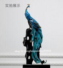 Copper Bronze Home Bedroom Decoration FengShui Peacock Peafowl Bird Sculpture
