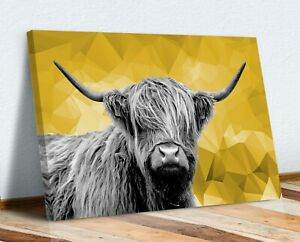 HIGHLAND COW BLACK AND WHITE YELLOW GEO BACK CANVAS WALL ART PRINT ARTWORK