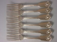 SET 6 1831 Georgian Silver Dinner Forks 529 grams Fiddle Thread Husk Theobalds