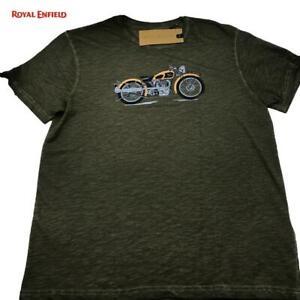 T-Shirt Rundhals 100% Baumwolle Original ROYAL ENFIELD Motorrad Oliv (TG.XXL)