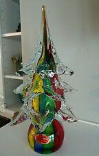Vintage Murano Art Glass Striped Christmas Tree Figurine Sculpture w/ Label