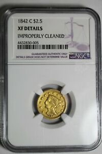 1842 C $2.5 XF Details NGC Charlotte Gold
