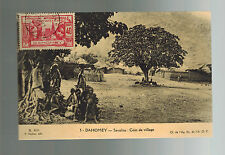 1937 Dahomey RPPC Real Picture Postcard Cover Villagers and Trees paris Expo