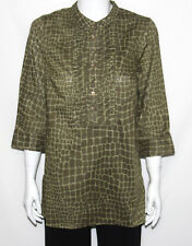 NEW Isaac Mizrahi Live! Signature Animal Print Tunic SMALL/GROVE GREEN