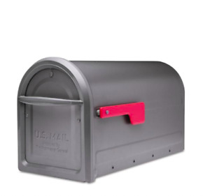 Architectural Mailboxes Mapleton Post Mount Mailbox Graphite with Red Flag