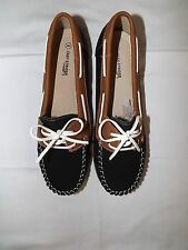 NEW EASY STRIDER Girls Black and Tan Slip On Loafer Boat Shoes Size 6