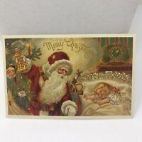 Vintage Postcard Christmas 1988 Santa Claus Gifts Christmas Tree