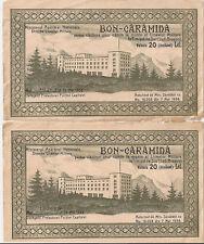 ROMANIA 2 X BON CARAMIDA 20 lei Liceu Militar Timisul de Sus Brasov Consecutive