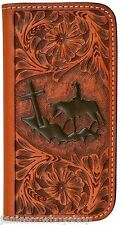 LEATHER WESTERN CELL PHONE CASE IPHONE 8 TAN TOOLED-WALLET COWBOY CROSS RODEO