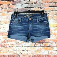 Arizona Womens Size 5 Juniors Cuffed Shortie Dark Wash Denim Shorts