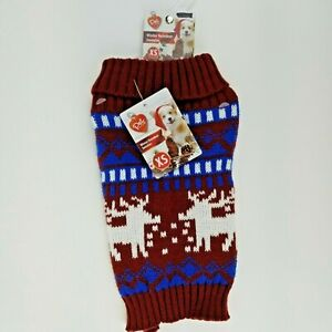 Puppy Dog Red Maroon Christmas Winter Sweater XS Reindeer Fold Down Collar