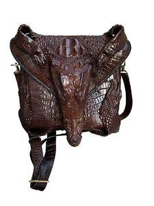 Genuine Crocodile alligator leather skin sling bags, backpack crossbody bag men