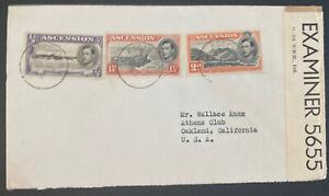 1942 Ascension Island Censored Cover To Oakland CA Usa