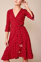 Polka Dot Wrap Dress Spotted Flares Trim Belt Tie Wrap Midi Length Burgundy