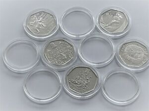 Coin Capsules 28mm (50p small) pack of 10 (capsules only !) Round Plastic Cases