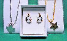D-Pad & Star Necklace Pendents + Mushroom Earrings NEW Nintendo Mario Inspired
