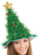 Christmas Tree Tinsel Hat Green Red Baubles Gold Star Festive Party Hat
