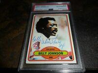 """1980 TOPPS #58 Billy """"WHITE SHOES"""" Johnson HOUSTON OILERS PSA/DNA & INSCRIPTION"""