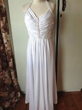 Vintage White Grecian Goddess Maxi Dress Gold Trim Halter Neck Med