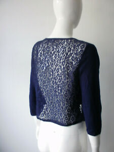 Navy Fine Knit Lace Back Three quarter sleeve Bolero Shrug size 12