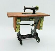 1:12 scale vintage dollhouse miniature metal Sewing Machine wood table & brass