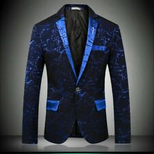 Men's Slim fit Casual Blazers Coat Jacket One button Printed Party Formal Lapel
