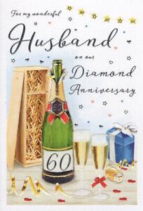 "ICG Husband Diamond 60th Wedding Anniversary Card - Champagne 9"" x 6"""