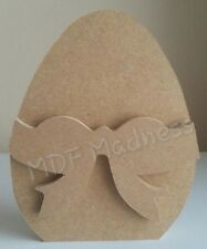 MDF CRAFT SHAPE. WOODEN 3D EASTER EGG WITH BOW. 18MM FREE STANDING 15CM HIGH