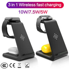 3 In1 Qi 10W Wireless Charger Dock Fast Charging Stand For Samsung