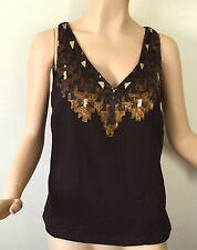 RALPH LAUREN LADYS TOP BROWN W/ SEQUINS SLEEVELESS NEW W/TAGS $159 SZ 14