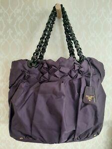 PRADA Tessuto Purple Nylon Origami Pleated Shoulder Bag