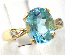 SYJEWELLERY 9CT YELLOW GOLD NATURAL OVAL BLUE TOPAZ & DIAMOND RING  SIZE N  R53