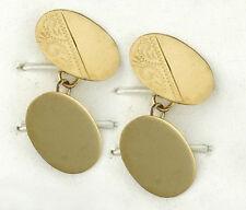 Gemelos Ovalados Sólido Oro Amarillo Grabados Hechos a Mano