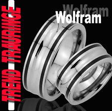 2 Partner Ringe Tungsten BLACK Trauringe Gravur Gratis Wolfram * TW33