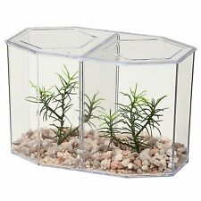 LEES LEE'S DUAL BETTA HEX TANK KIT W/LID GRAVEL PLANT & DIVIDER FREE SHIP TO USA