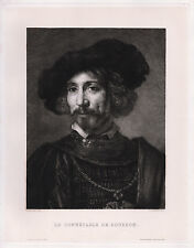 "Handsome 1800s REMBRANDT Antique Etching ""Man with a Steel Gorget"" SIGNED COA"