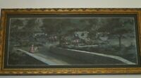 VINTAGE PAINTING FRENCH REVOLUTION ? SOLDIERS WAGONS HORSE MILITARY  TEAGUE ?