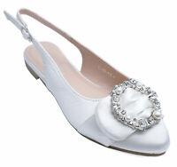 WOMENS WHITE FLAT DIAMANTE PARTY PROM WEDDING DRESS SHOES PUMPS SIZES 3-8