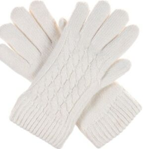 Cable Knit Gloves Soft Plush Lining Ivory
