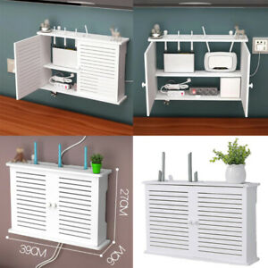 White Wood-Plastic Wifi Router Cover Storage Box Wall Mounted Shelf Organiser