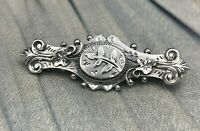 Sweetheart Bar Brooch Sterling Silver Aesthetic Hallmarked H&N Victorian Ornate