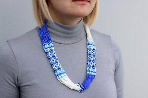 Ukrainian necklace Yellow blue jewelry gift Ukrainian ornament gerdan