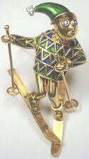 "Retro Vintage Deco Diamond Ski Brooch Pin 18K Yellow Gold MFG PB 2.23"" x 1.32"""